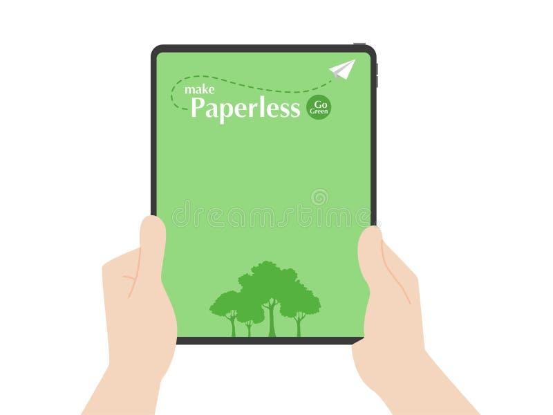 Τα δέντρα ταμπλετών λαβής χεριών και η μύγα εγγράφου πυραύλων γύρω από το χωρίς χαρτί λογότυπο πηγαίνουν πράσινη ιδέα έννοιας διανυσματική απεικόνιση