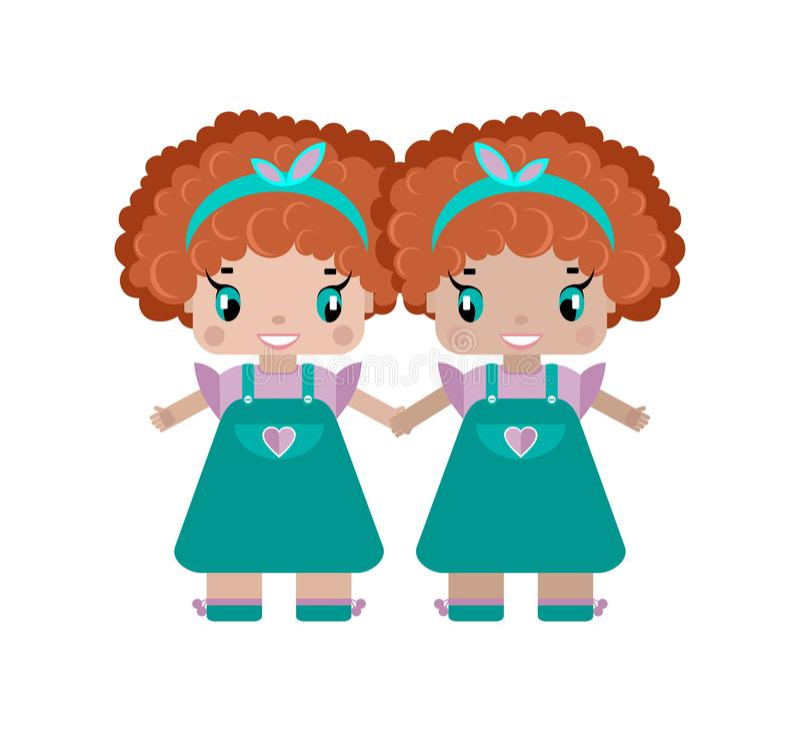 τα δίδυμα ενός κοριτσιού κρατούν τα χέρια, δύο αδελφές είναι μικρά χαριτωμένα κορίτσια διανυσματική απεικόνιση