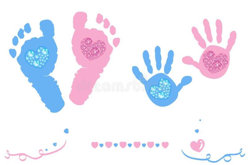 Τα δίδυμα πόδια κοριτσάκι και αγοριών και το ροζ καρτών άφιξης τυπωμένων υλών χεριών, μπλε χρωμάτισαν με τις λάμποντας καρδιές δι απεικόνιση αποθεμάτων
