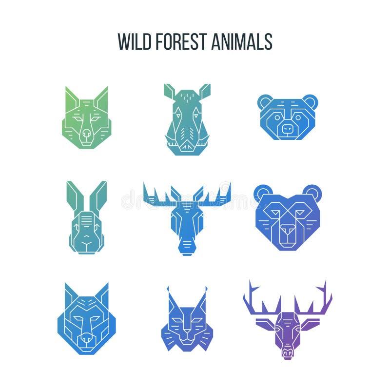 Τα δασικά εικονίδια κεφαλιών ζώων με την κλίση γεμίζουν διανυσματική απεικόνιση