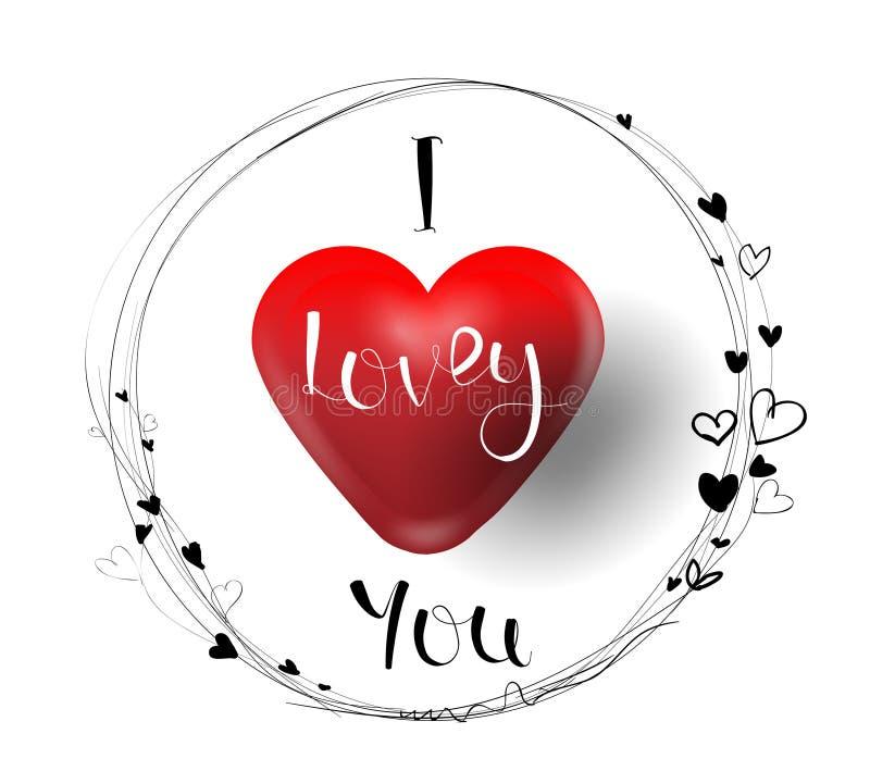 Τα δημιουργικά συρμένα χέρια έκαναν το κείμενο ι την αγάπη εσείς, καλή ευχετήρια κάρτα κινούμενων σχεδίων ημέρας του ευτυχούς βαλ απεικόνιση αποθεμάτων