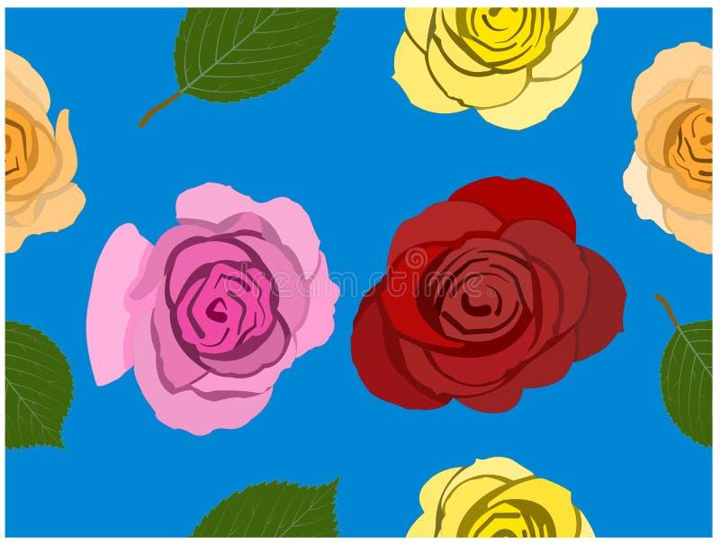 Τα διάφορα τριαντάφυλλα χρωμάτων στο μπλε υπόβαθρο Άνευ ραφής ταπετσαρία It's απεικόνιση αποθεμάτων