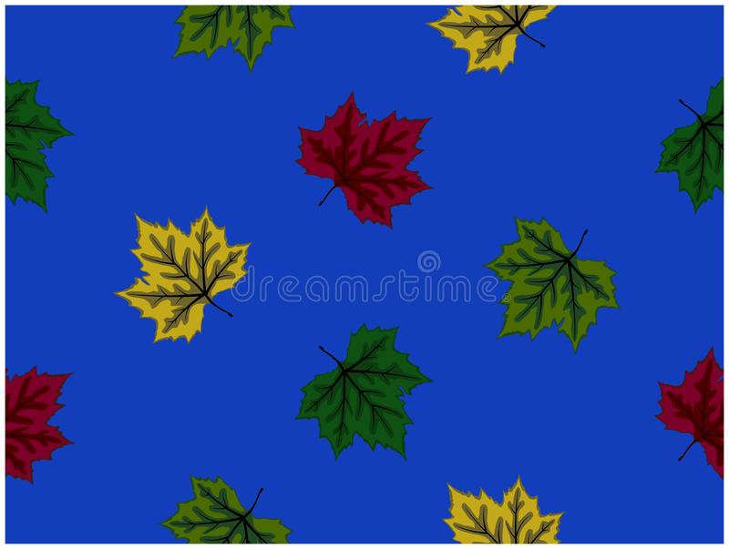 Τα διάφορα χρώματα των σχεδιασμένων φύλλων στο μπλε υπόβαθρο απεικόνιση αποθεμάτων