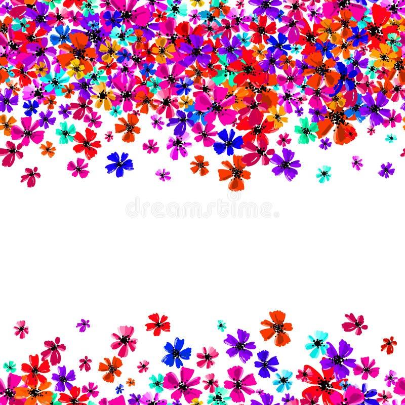 Τα διανυσματικά άνευ ραφής σύνορα με τα λουλούδια σχεδίων χεριών, πολύχρωμη φωτεινή καλλιτεχνική βοτανική απεικόνιση, απομόνωσαν  απεικόνιση αποθεμάτων