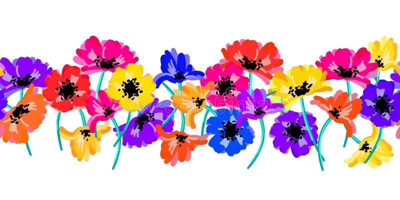 Τα διανυσματικά άνευ ραφής σύνορα με τα λουλούδια σχεδίων χεριών, πολύχρωμη φωτεινή καλλιτεχνική βοτανική απεικόνιση, απομόνωσαν  διανυσματική απεικόνιση