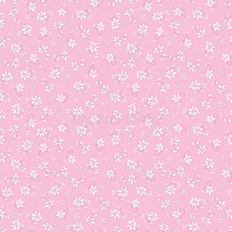 Τα διανυσματικά ανοικτό ροζ συρμένα χέρι λουλούδια επαναλαμβάνουν το σχέδιο Κατάλληλος για το περικάλυμμα, το κλωστοϋφαντουργικό  ελεύθερη απεικόνιση δικαιώματος