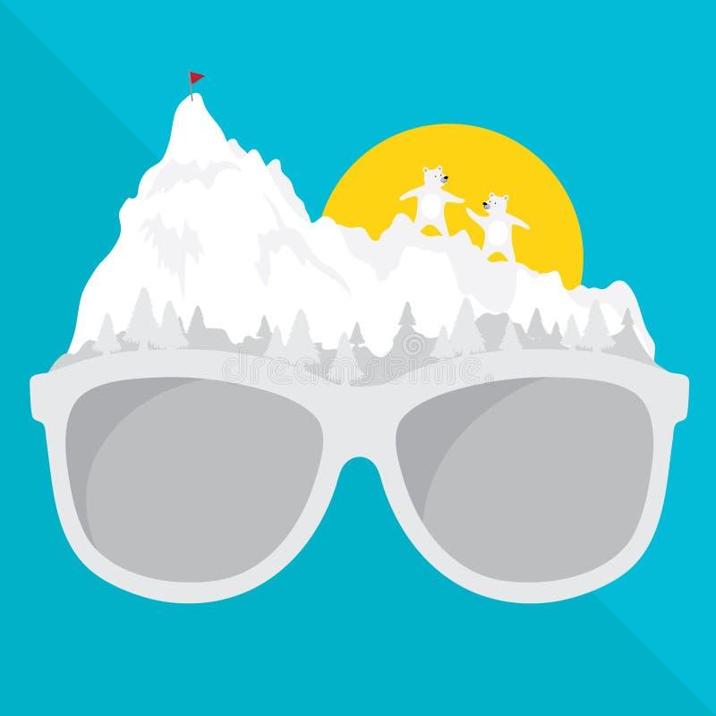 Τα διανυσματικά γραφικά γυαλιά με το ταξίδι έννοιας είναι φυσικό ύφος ταξιδιών δημιουργικό χιόνι σχεδίου του χειμώνα ελεύθερη απεικόνιση δικαιώματος