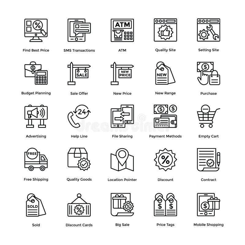 Τα διανυσματικά εικονίδια αγορών θέτουν 7 ελεύθερη απεικόνιση δικαιώματος