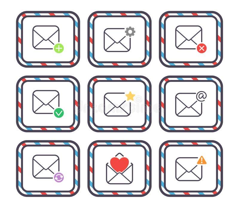Τα διανυσματικά εικονίδια επιστολών ηλεκτρονικού ταχυδρομείου θέτουν στην αλληλογραφία επικοινωνίας κάλυψης φακέλων το κενό έγγρα ελεύθερη απεικόνιση δικαιώματος