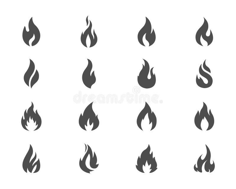 Τα διανυσματικά εικονίδια πυρκαγιάς καθορισμένα το γκρι στο λευκό διανυσματική απεικόνιση