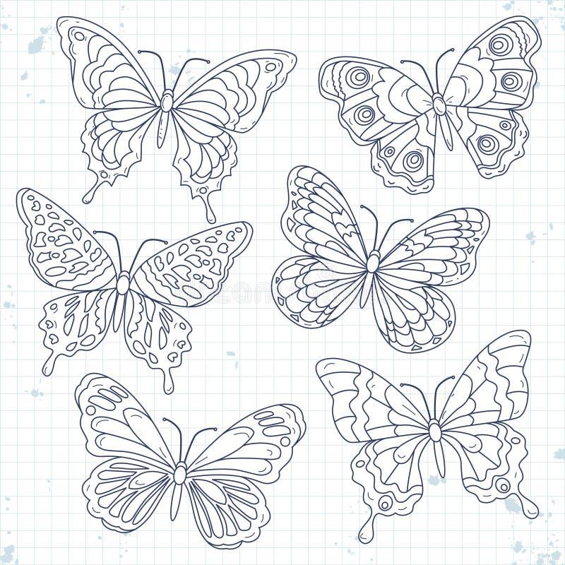 Τα διανυσματικά εικονίδια σκίτσων, θέτουν τις διάφορες διακοσμητικές πεταλούδες που απομονώνονται απεικόνιση αποθεμάτων