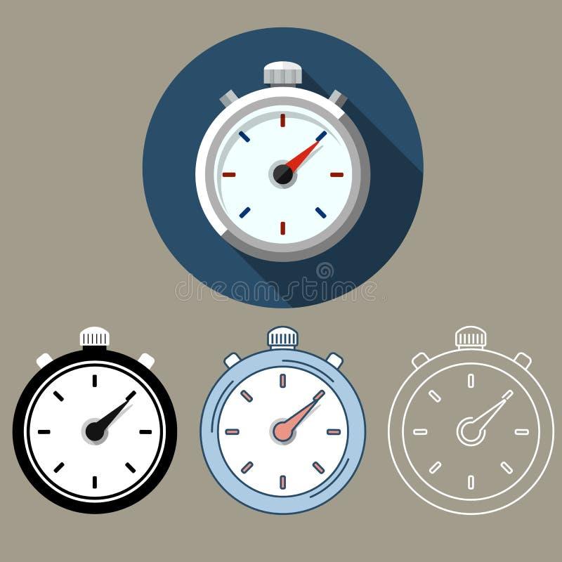 Τα διανυσματικά εικονίδια χρονομέτρων με διακόπτη χρονικών ρολογιών καθορισμένα το απόθεμα στοκ εικόνες με δικαίωμα ελεύθερης χρήσης