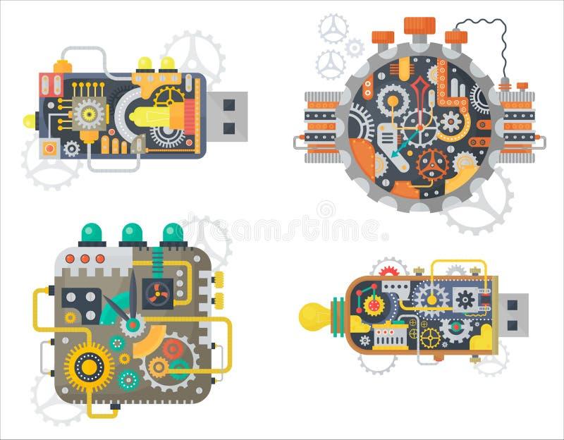 Τα διανυσματικά εκλεκτής ποιότητας ρολόγια ρολογιών Steampunk αντιμετωπίζουν και usb η κίνηση λάμψης με τα βαραίνω και τα εργαλεί ελεύθερη απεικόνιση δικαιώματος