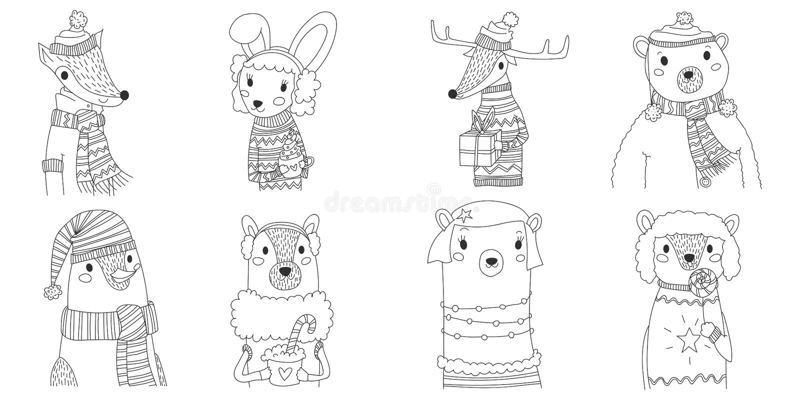 Τα διανυσματικά ζώα Χριστουγέννων σκιαγραφούν την απεικόνιση συλλογής στην τέχνη γραμμών με οκτώ ζώα που φορά τα χειμερινά ενδύμα ελεύθερη απεικόνιση δικαιώματος