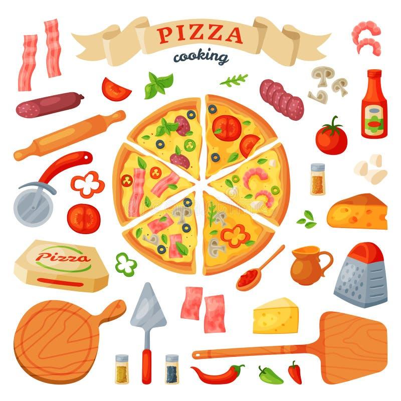 Τα διανυσματικά ιταλικά τρόφιμα πιτσών με το τυρί και η ντομάτα στο σύνολο pizzeria ή pizzahouse απεικόνισης ψημένης πίτας από ελεύθερη απεικόνιση δικαιώματος