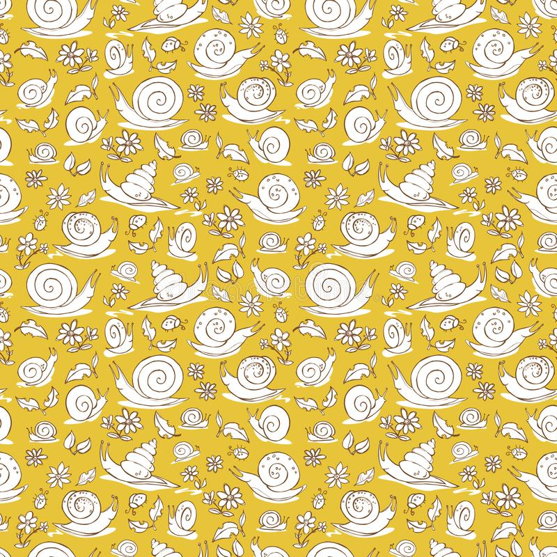 Τα διανυσματικά κίτρινα συρμένα χέρι σαλιγκάρια και τα λουλούδια επαναλαμβάνουν τη σύσταση σχεδίων Κατάλληλος για το περικάλυμμα, ελεύθερη απεικόνιση δικαιώματος