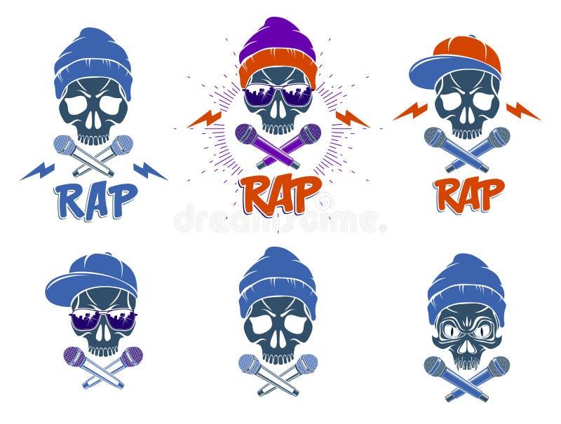 Τα διανυσματικά τα καθορισμένα λογότυπα ή εμβλήματα ραπ επιθετικό κρανίο και δύο μικρόφωνα που διασχίζονται με όπως τα κόκκαλα, χ διανυσματική απεικόνιση