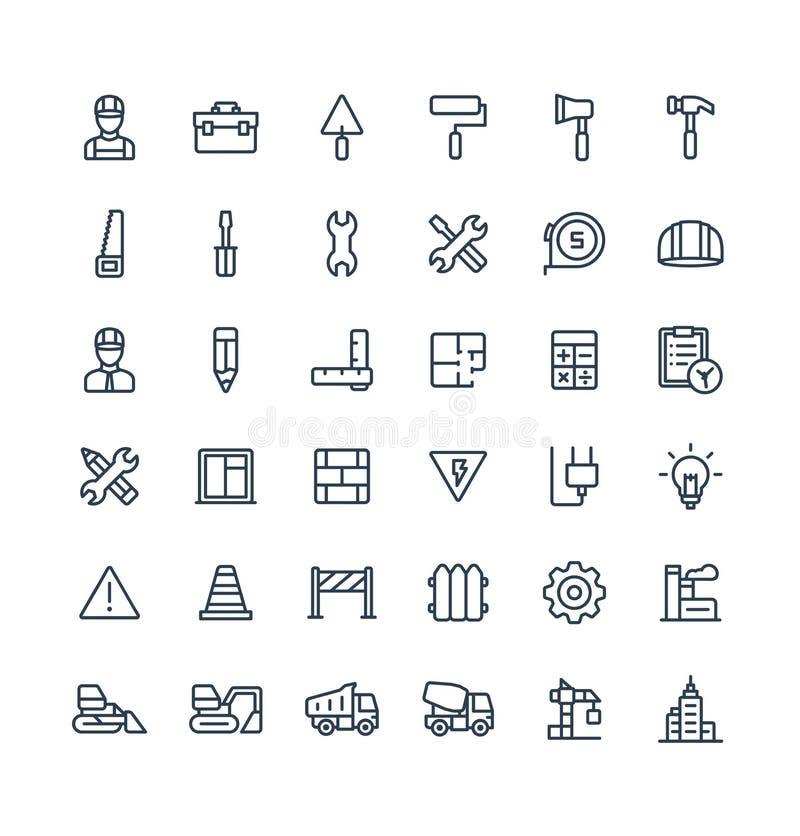 Τα διανυσματικά λεπτά εικονίδια γραμμών θέτουν με την κατασκευή, βιομηχανικός, αρχιτεκτονικός, σύμβολα περιλήψεων εφαρμοσμένης μη απεικόνιση αποθεμάτων