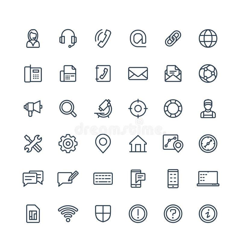 Τα διανυσματικά λεπτά εικονίδια γραμμών μας θέτουν με την επαφή, σύμβολα περιλήψεων υπηρεσιών τεχνικής υποστήριξης ελεύθερη απεικόνιση δικαιώματος