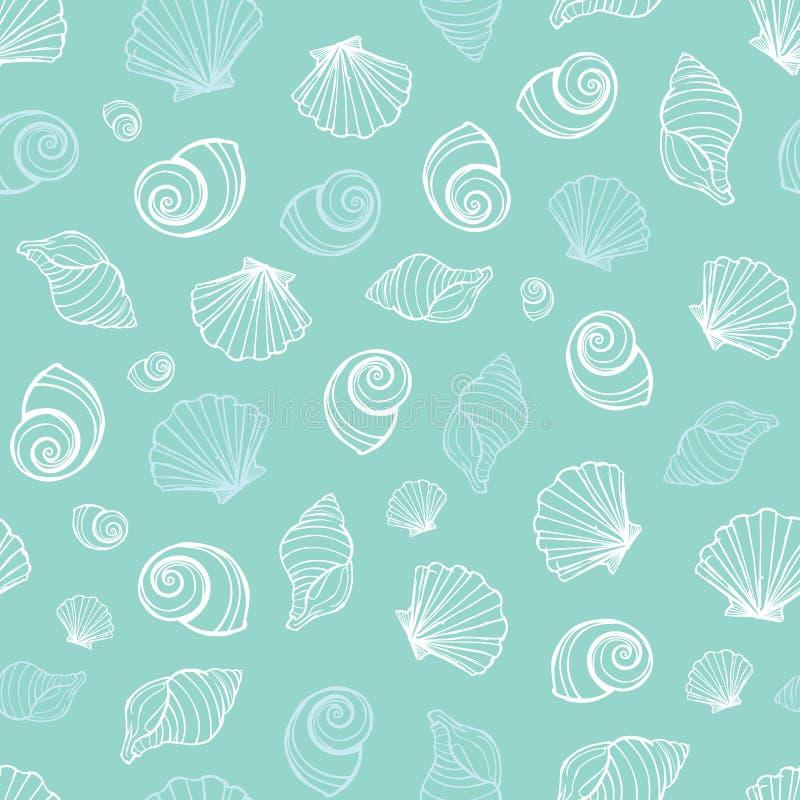 Τα διανυσματικά μπλε θαλασσινά κοχύλια κρητιδογραφιών επαναλαμβάνουν το σχέδιο Κατάλληλος για το περικάλυμμα, το κλωστοϋφαντουργι απεικόνιση αποθεμάτων