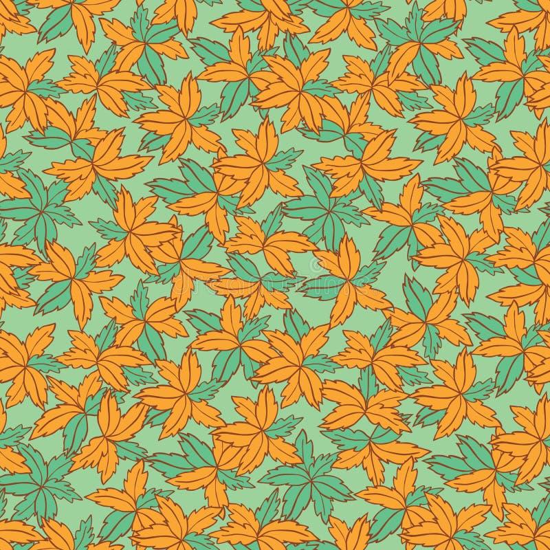 Τα διανυσματικά πράσινα και πορτοκαλιά συρμένα χέρι φύλλα επαναλαμβάνουν το σχέδιο Κατάλληλος για το περικάλυμμα, το κλωστοϋφαντο απεικόνιση αποθεμάτων