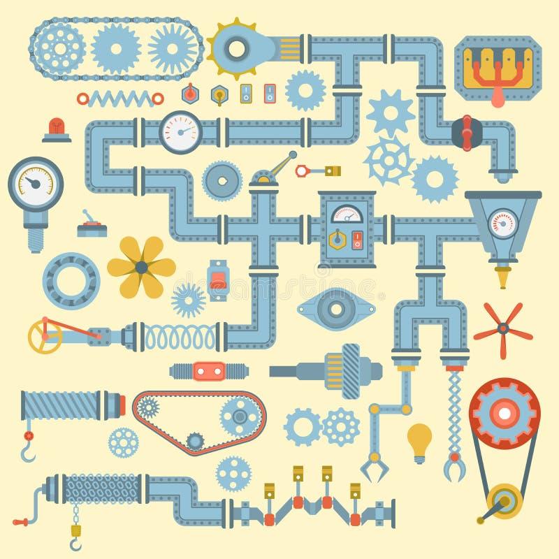 Τα διανυσματικά ρομποτικά επίπεδα εικονίδια μερών μηχανημάτων καθορισμένα το σχέδιο λεπτομέρειας εργασίας κατασκευής Βιομηχανία μ ελεύθερη απεικόνιση δικαιώματος