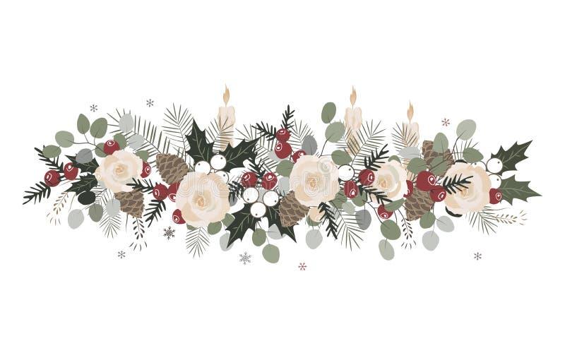 Τα διανυσματικά σύνορα Χριστουγέννων με το έλατο διακλαδίζονται, beriies, τριαντάφυλλα, ilex και κώνοι Στοιχείο σχεδίου διακοσμήσ ελεύθερη απεικόνιση δικαιώματος