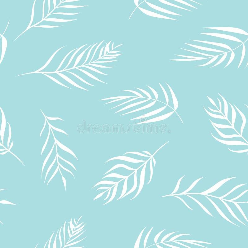 Τα διανυσματικά τροπικά φύλλα φοινικών στη λεπτή κρητιδογραφία χρωματίζουν το άνευ ραφής υπόβαθρο σχεδίων ελεύθερη απεικόνιση δικαιώματος