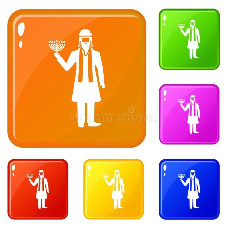 Τα εβραϊκά εικονίδια ατόμων καθορισμένα το διανυσματικό χρώμα απεικόνιση αποθεμάτων