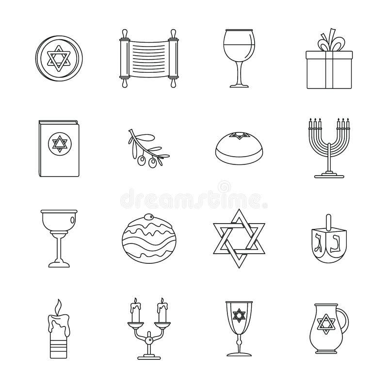 Τα εβραϊκά εικονίδια διακοπών Chanukah καθορισμένα, περιγράφουν το ύφος ελεύθερη απεικόνιση δικαιώματος