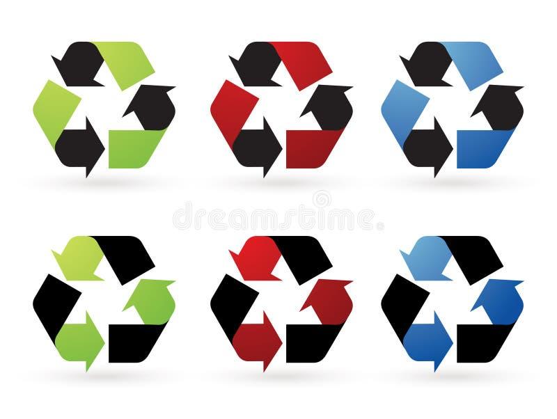 τα εικονίδια ανακυκλών&omicr διανυσματική απεικόνιση