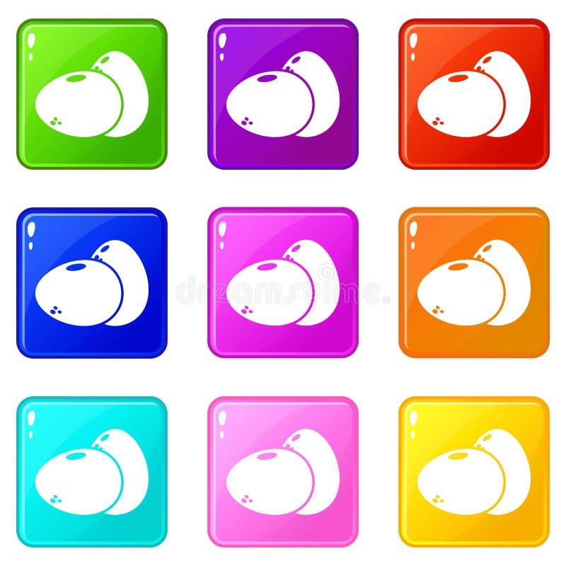 Τα εικονίδια αυγών θέτουν τη συλλογή 9 χρώματος ελεύθερη απεικόνιση δικαιώματος