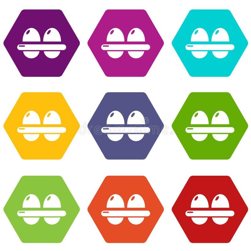 Τα εικονίδια αυγών θέτουν το διάνυσμα 9 διανυσματική απεικόνιση