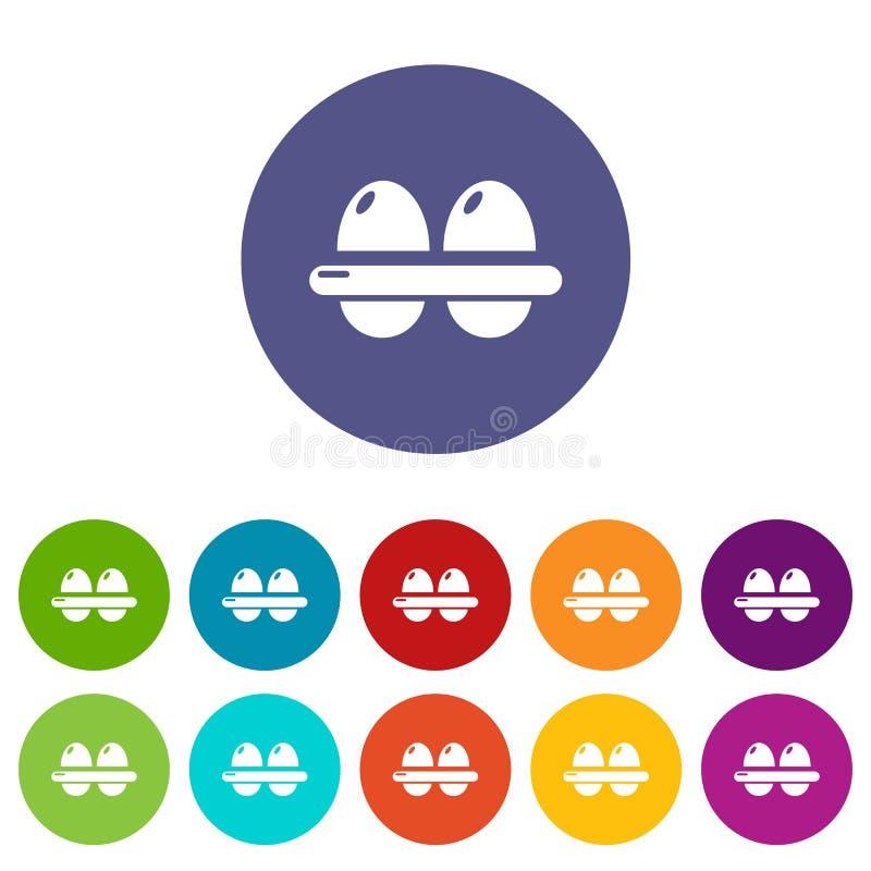 Τα εικονίδια αυγών καθορισμένα το διανυσματικό χρώμα απεικόνιση αποθεμάτων