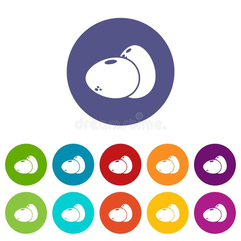 Τα εικονίδια αυγών καθορισμένα το διανυσματικό χρώμα ελεύθερη απεικόνιση δικαιώματος