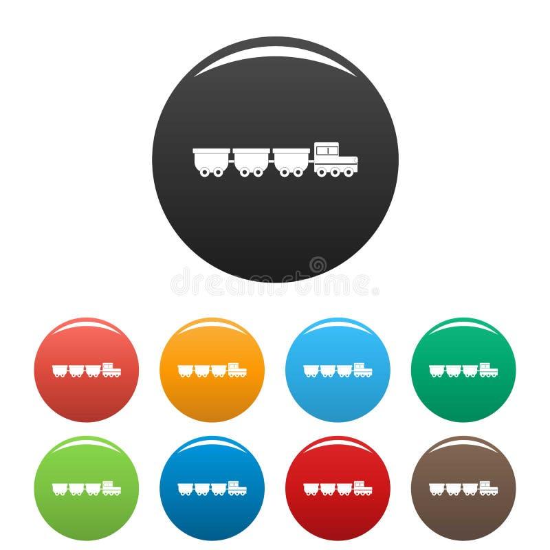 Τα εικονίδια βαγονιών εμπορευμάτων φορτίου καθορισμένα το διάνυσμα χρώματος ελεύθερη απεικόνιση δικαιώματος