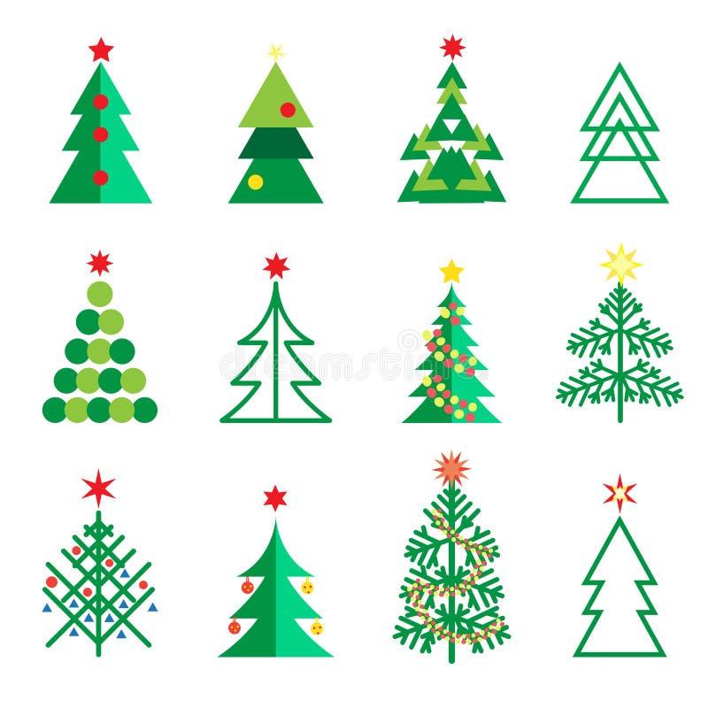Τα εικονίδια δέντρων του FIR καθορισμένα τη διακόσμηση Χριστουγέννων χειμερινών διακοπών διανυσματική απεικόνιση