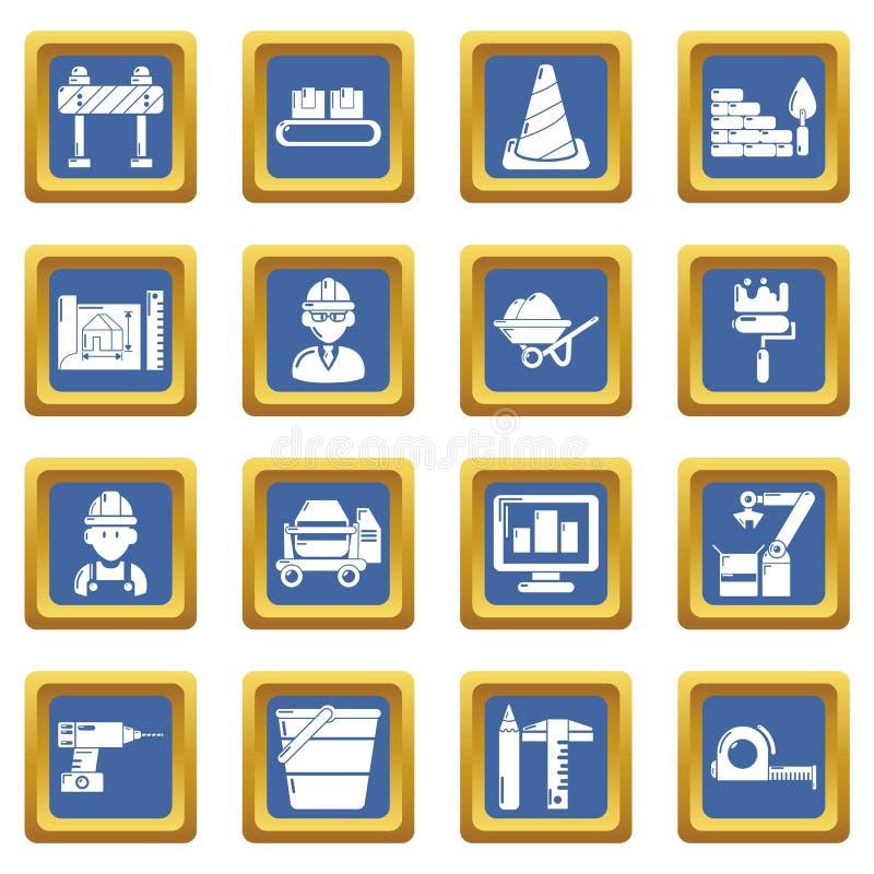 Τα εικονίδια διαδικασίας οικοδόμησης καθορισμένα το μπλε τετράγωνο ελεύθερη απεικόνιση δικαιώματος