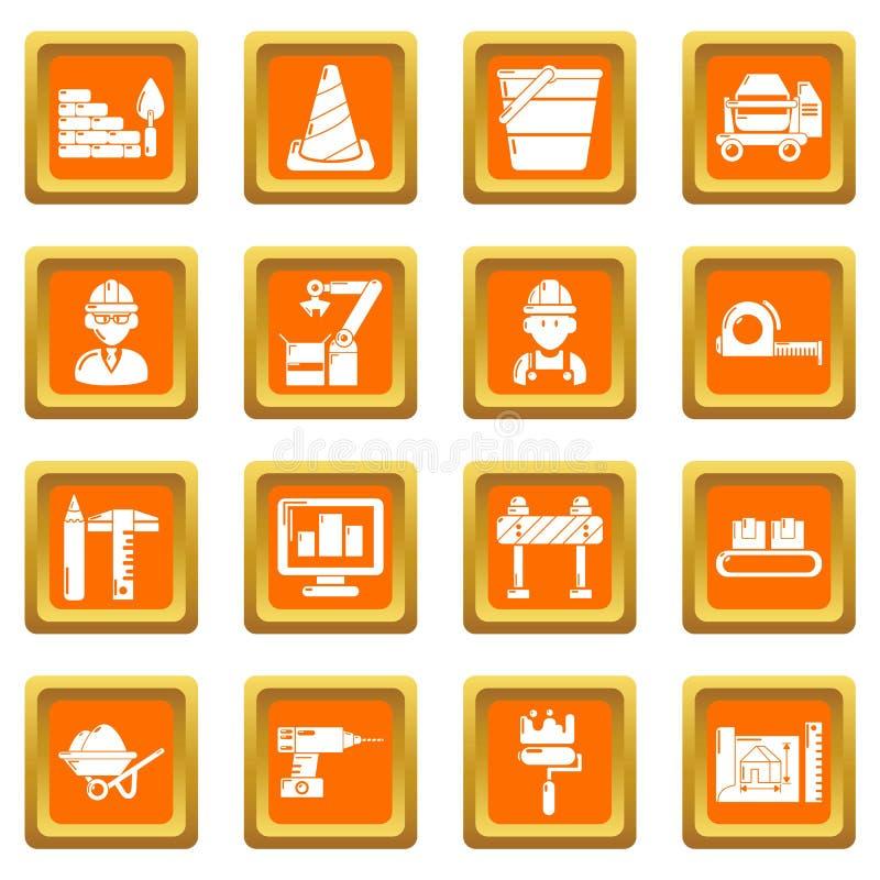 Τα εικονίδια διαδικασίας οικοδόμησης καθορισμένα το πορτοκαλί τετραγωνικό διάνυσμα απεικόνιση αποθεμάτων
