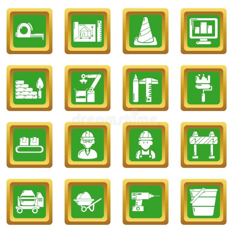 Τα εικονίδια διαδικασίας οικοδόμησης καθορισμένα το πράσινο τετράγωνο ελεύθερη απεικόνιση δικαιώματος