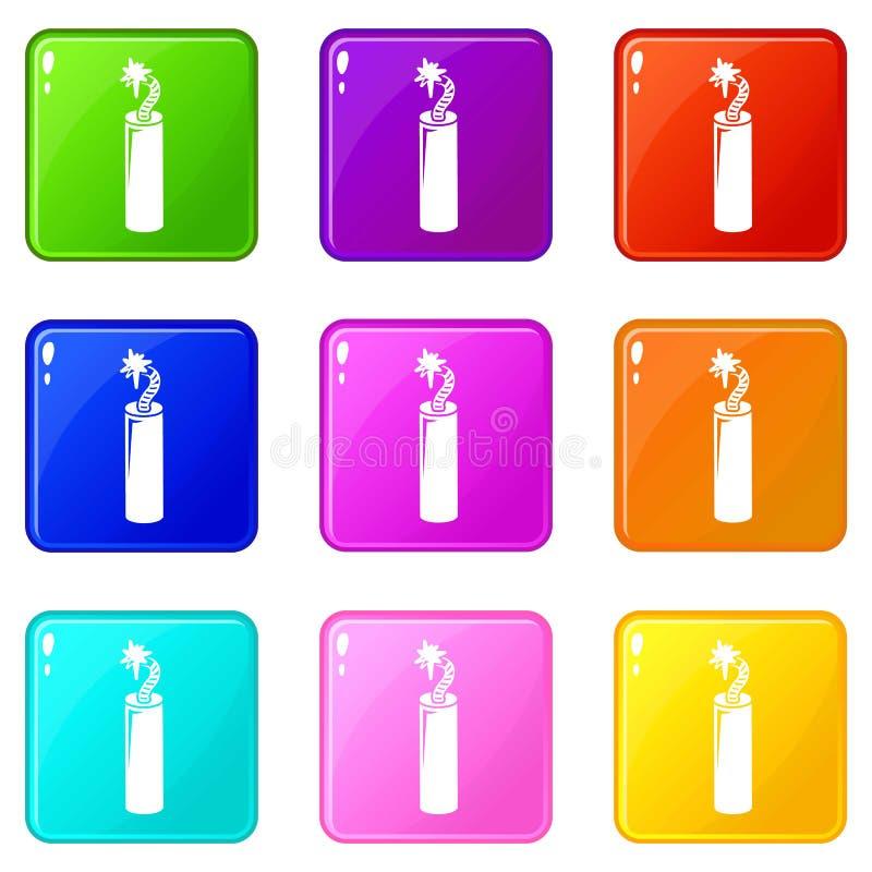 Τα εικονίδια δυναμίτη ορυχείου θέτουν τη συλλογή 9 χρώματος ελεύθερη απεικόνιση δικαιώματος