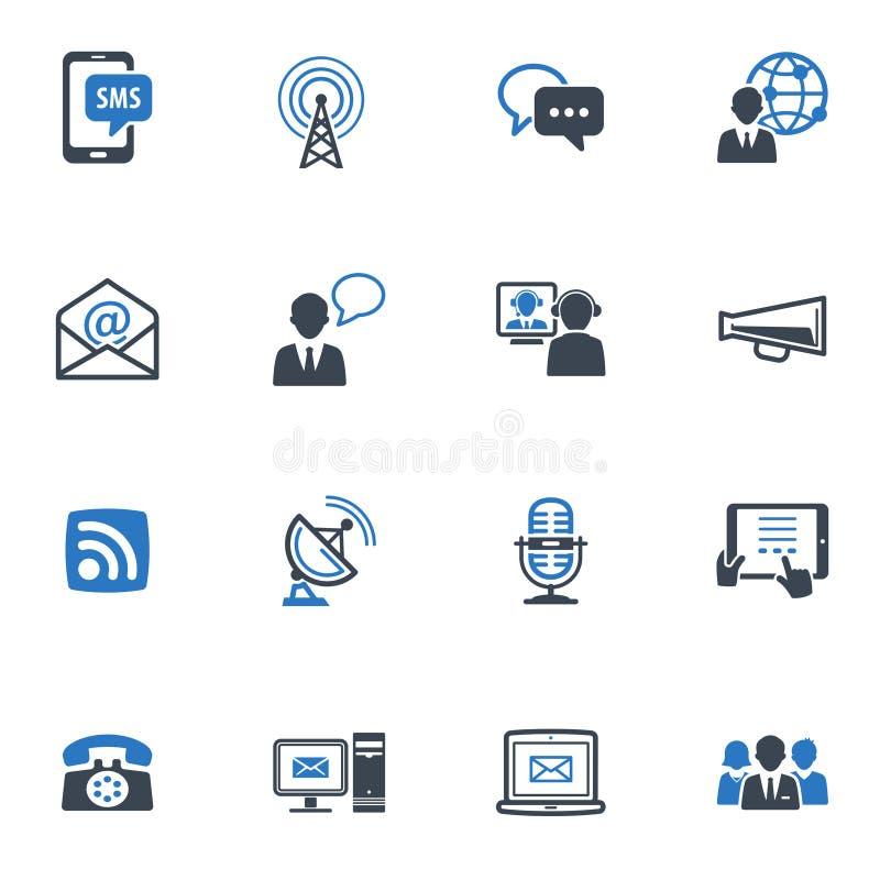 Τα εικονίδια επικοινωνίας, θέτουν 1 - μπλε σειρά διανυσματική απεικόνιση