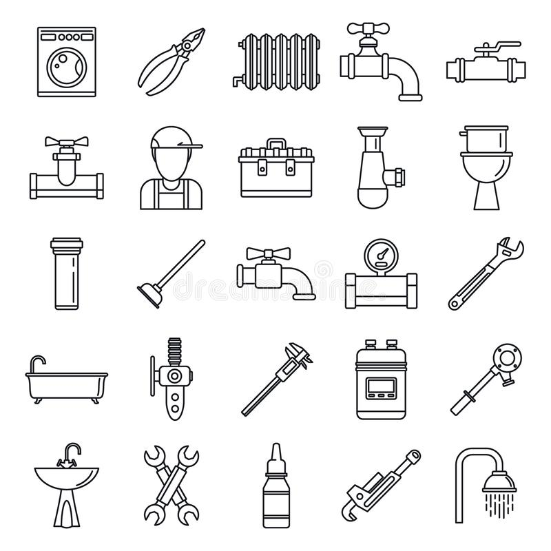 Τα εικονίδια επισκευής υδραυλικών καθορισμένα, περιγράφουν το ύφος απεικόνιση αποθεμάτων