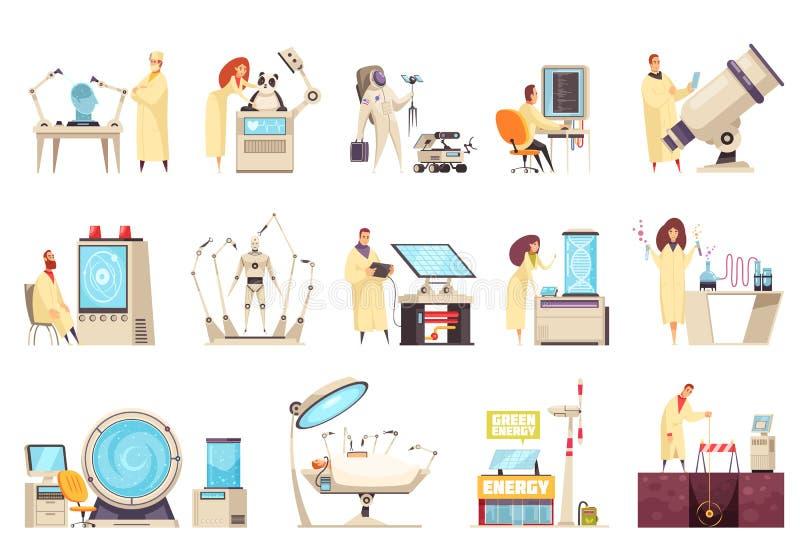 Εικονίδια επιστήμης καθορισμένα απεικόνιση αποθεμάτων