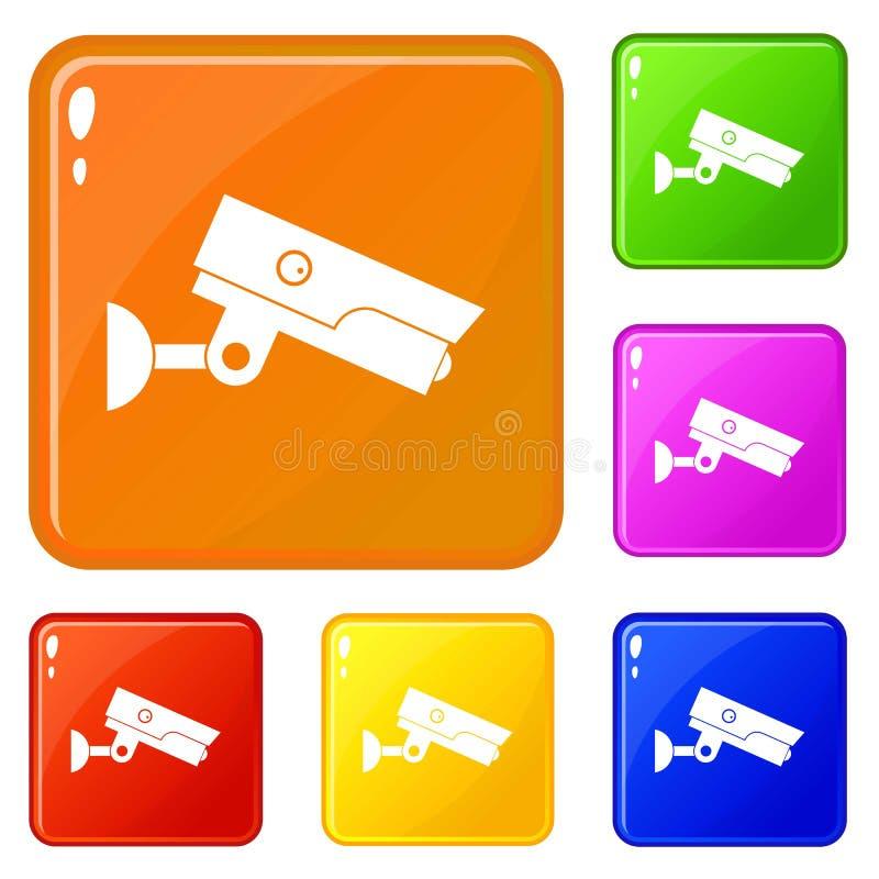 Τα εικονίδια κάμερων ασφαλείας καθορισμένα το διανυσματικό χρώμα απεικόνιση αποθεμάτων