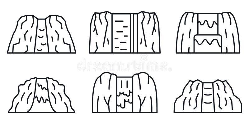 Τα εικονίδια καταρρακτών καθορισμένα, περιγράφουν το ύφος διανυσματική απεικόνιση
