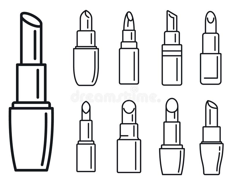 Τα εικονίδια κραγιόν πολυτέλειας καθορισμένα, περιγράφουν το ύφος διανυσματική απεικόνιση