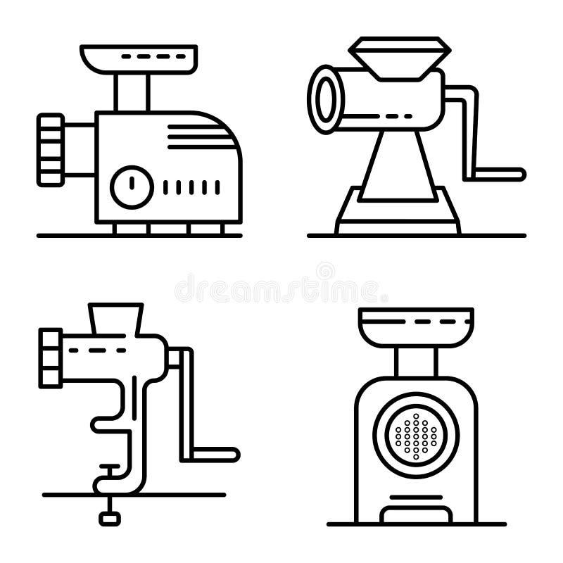 Τα εικονίδια μηχανή κοπής κιμά καθορισμένα, περιγράφουν το ύφος ελεύθερη απεικόνιση δικαιώματος