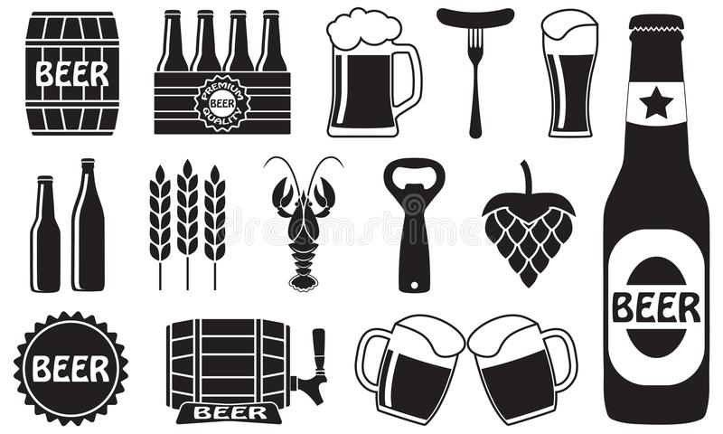 Τα εικονίδια μπύρας θέτουν: μπουκάλι, ανοιχτήρι, γυαλί, βρύση, βαρέλι Σύμβολα και στοιχεία σχεδίου για το εστιατόριο, το μπαρ ή τ διανυσματική απεικόνιση