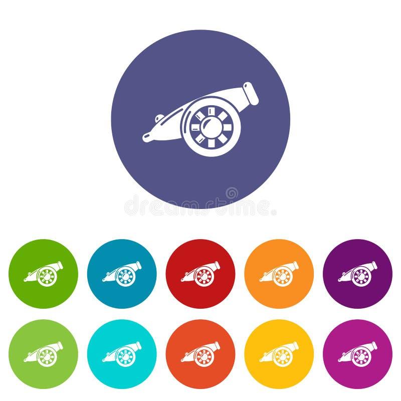Τα εικονίδια πυροβόλων πυροβολικού καθορισμένα το διανυσματικό χρώμα διανυσματική απεικόνιση